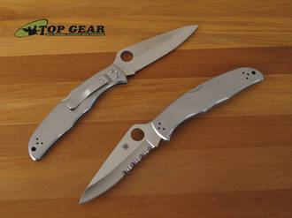 Spyderco Endura 4 Pocket Knife with Stainless Steel Handle - C10P Plain or C10PS Combo Edge