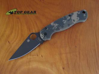 Spyderco Paramilitary 2 Folding Knife, S30V, Digital Camo, Black DLC Coat - C81GPCMOBK2