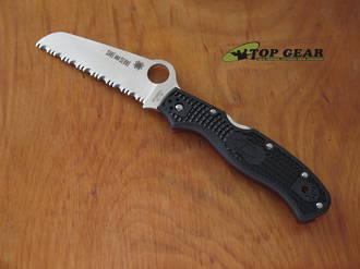 Spyderco Rescue 3 Thin Red Line Lightweight Rescue Knife, Black FRN Handle - C14FSBKRD3