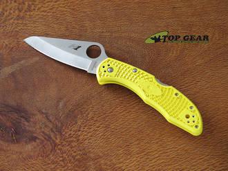 Spyderco Salt 2 Folding Pocket Knife, H I Stainless Steel, Fine Edge, Yellow - C88PYL2 and Serrated Edge C88SYL2