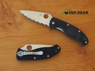 Spyderco Tenacious Folding Linerlock Knife, Serrated Edge - C122GS