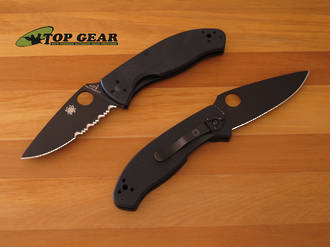 Spyderco Tenacious Folding Knife Black - Serrated or Plain Edge