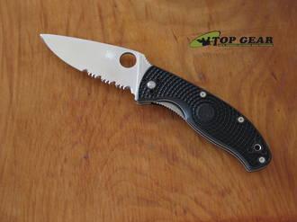 Spyderco Tenacious Lightweight Pocket Knife, Black FRN Handle, Satin Edge, Combo Edge - C122PSBK