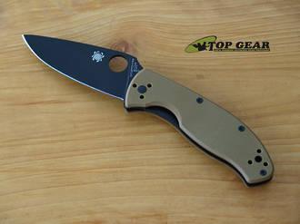 Sypderco Tenacious Folding Knife, Brown Handle, Plain Edge - C122GPBBN