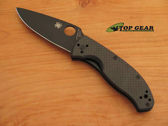 Spyderco Tenacious Pocket Knife, Carbon Fiber - G-10 Handle, Black Blade, Fine Edge - C122CFBBKP
