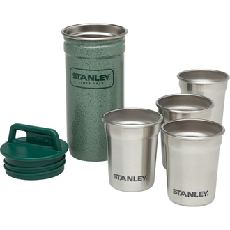 Stanley Adventure Packable Stainless Steel Shot Glass Set, 4x 59 ml, Hammertone Green - 10-01705-003
