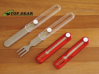 Swiss Advance Travel Cutlery Knife and Fork Set - Red or White