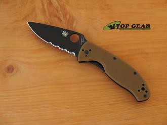 Sypderco Tenacious Folding Knife, Brown Handle, Semi-Serrated - C122GPSBBN