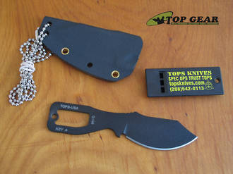 Tops Key Knife Hunter Drop-Point Neck Knife with Emergency Whistle - KEY B