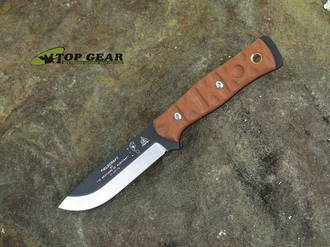 Tops Knives B.O.B. Brothers of Bushcraft Knife, 1095 High Carbon Steel, Tan Micarta Rocky Mountain Thread Handle - 01RMT