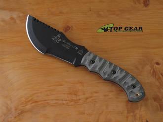 Tops Tom Brown Tracker 1 Bushcraft Knife, 1095 High Carbon Steel, Rocky Mountain Tread Linen Micarta Handle - TBT010RMT