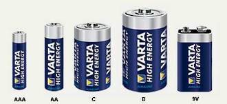 Varta High Energy Alkaline Battery - AAA, AA, C, D and 9V