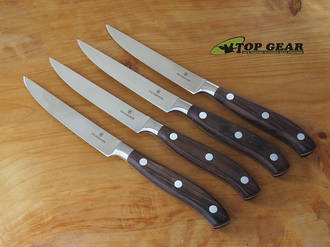 Victorinox Grand-Maitre Forged Steak Knife Set, 4 Pieces, Rosewood Handle - 7.7240.4