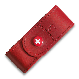 Victorinox Red Leather Pouch with Push-Button, Red, Size Large - 4.0520.1
