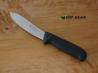 Victory Knives Butcher's Sheep Skinning Knife with round Tip, 13 cm, Black Progrip Handle 2-301-13-200B