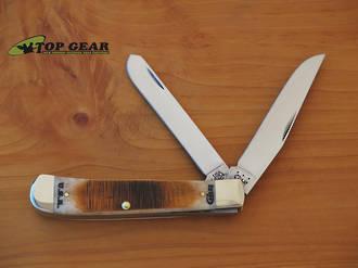 """Case 4 1/8"""" Amber Bone Rancher Trapper Pocket Knife - 58171"""