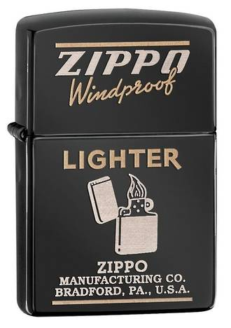 Zippo Classic Windproof Lighter, Black Ice - 28535