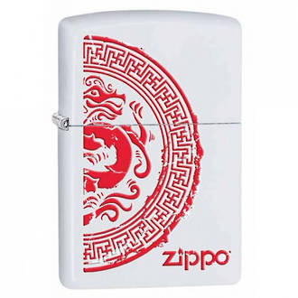 Zippo Dragon Stamp White Matte Windproof Lighter - 28855