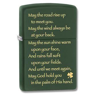 Zippo Irish Blessing Windproof Lighter, Green Matte - 28479