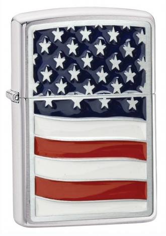 Zippo Land of the Free Windproof Lighter, High Polished Chrome - 248736