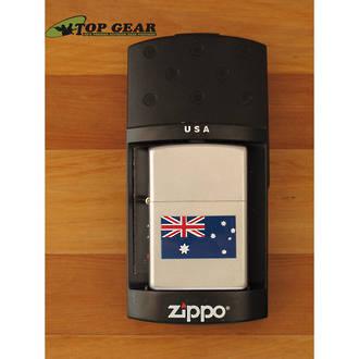 Zippo Australian Flag Windproof Lighter, Satin Chrome - 205 AF
