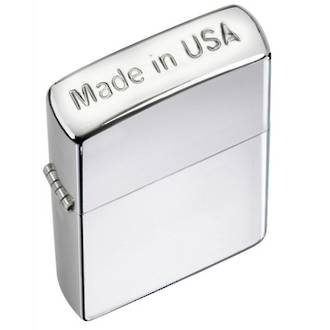 Zippo Crown Stamp Made in USA Windproof Lighter, High Polished Chrome - 24796