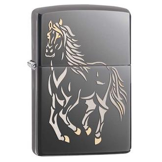 Zippo Running Horse Windproof Lighter, Black Ice - 28645
