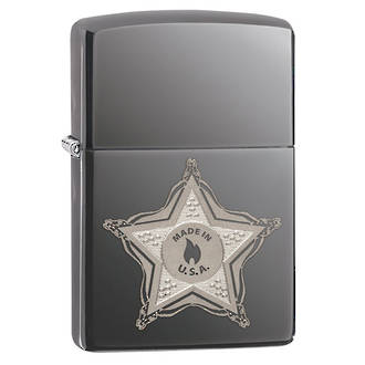 Zippo Skull Badge Windproof Lighter - Black Ice 28360