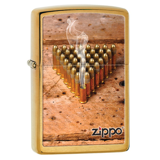 Zippo Smoking Bullets Windproof Lighter, Brushed Brass - 28674