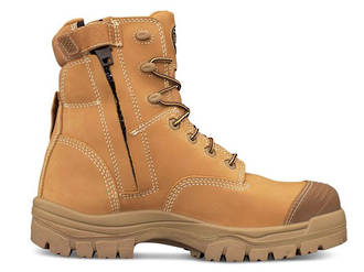 Oliver AT 45-632Z Lace Up Zip Side Safety Boot, Wheat