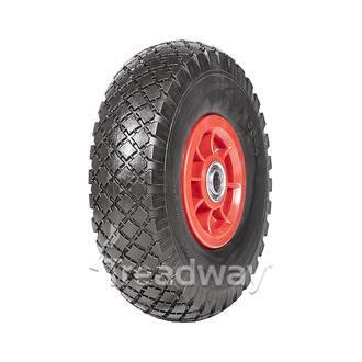 "Wheel 300-4"" Plastic Red ¾"" FB Rim 300-4 Solid PU Tyre W108"