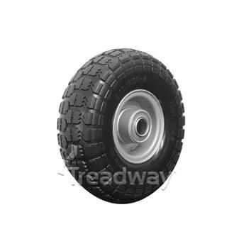 """Wheel 410/350-4"""" Silver 1"""" FB Rim 410/350-4 Solid PU Tyre W106"""