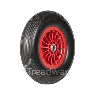 "Wheel 400-8"" Plastic Red 1"" FB Rim 400-8 Solid PU Tyre W104"
