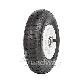 "Wheel 4"" Plastic Narrow White ¾"" FB Rim 250-4 4ply Industrial Tyre W102 Deestone"