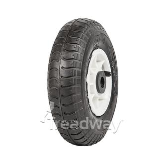 "Wheel 4"" Plastic Narrow White ¾"" Bush Rim 250-4 4ply Industrial Tyre W102 Deesto"