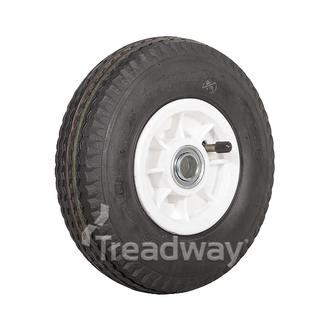 "Wheel 4"" Plastic Narrow White ¾"" FB Rim 280/250-4 4ply Sawtooth Tyre W105"
