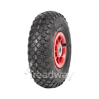 "Wheel 4"" Plastic Narrow White ¾"" FB Rim 300-4 4ply Diamond Tyre W108 Deestone"