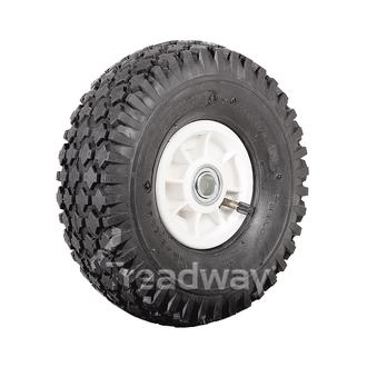 "Wheel 4"" Plastic Narrow White ¾"" FB Rim 410/350-4 4ply Diamond Tyre W108 Deeston"