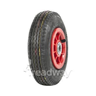 "Wheel 4"" Plastic Red ¾"" FB Rim 280/250-4 4ply Sawtooth Tyre W105"