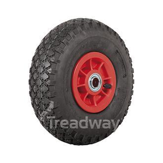 "Wheel 4"" Plastic Red ¾"" FB Rim 300-4 4ply Diamond Tyre W108 Deestone"