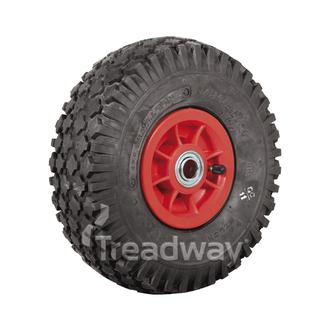 "Wheel 4"" Plastic Red ¾"" FB Rim 410/350-4 4ply Diamond Tyre W108 Deestone"