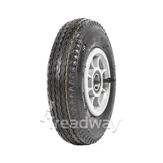 "Wheel 4"" Silver/Grey 25mm BB Rim 250-4 4ply Industrial Tyre W102 Deestone"