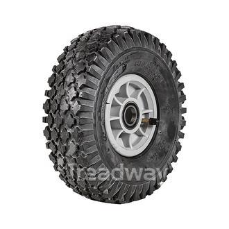 "Wheel 4"" Silver/Grey 25mm BB Rim 410/350-4 4ply Diamond Tyre W108 Deestone"