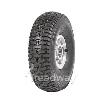 "Wheel 4"" Silver/Grey 25mm BB Rim 11x400-4 4ply Turf Tyre W130 Deestone"