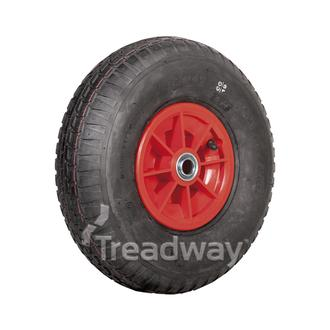 "Wheel 6"" Plastic Red ¾"" FB Rim 400-6 4ply Barrow Tyre W110 Deestone"