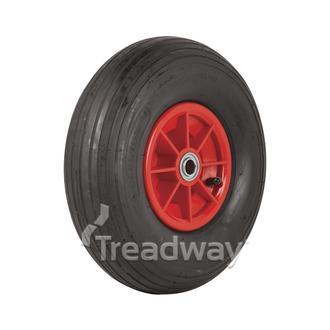 """Wheel 6"""" Plastic Red ¾"""" FB Rim 400-6 4ply Rib Tyre W104 Deestone"""