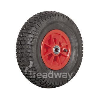 """Wheel 6"""" Plastic Red ¾"""" FB Rim 15x600-6 4ply Turf Tyre W130 Deestone"""