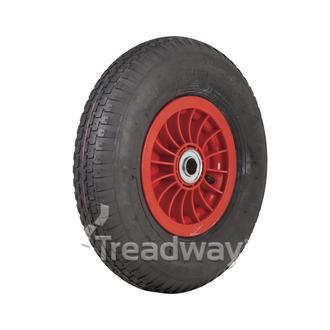 """Wheel 2.50-8"""" Plastic Red 1"""" FB Rim 300-8 2ply Barrow Tyre W110"""