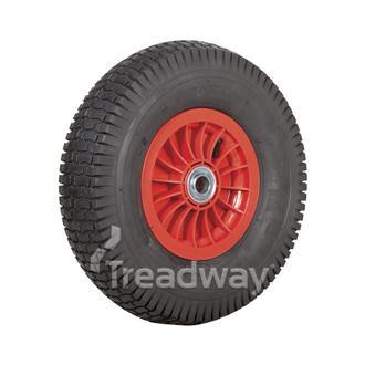 """Wheel 2.50-8"""" Plastic Red 1"""" FB Rim 480/400-8 4ply Turf Tyre W130 Deestone"""