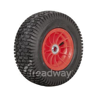 """Wheel 4.75-8"""" Plastic Red 1"""" FB Rim 20x8-8 4ply Turf Tyre W130 Deestone"""